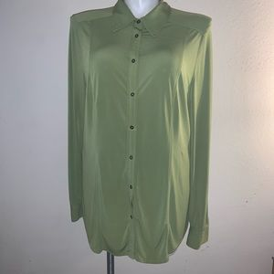 AVENUE GREEN LONG SLEEVE STRETCH BLOUSE